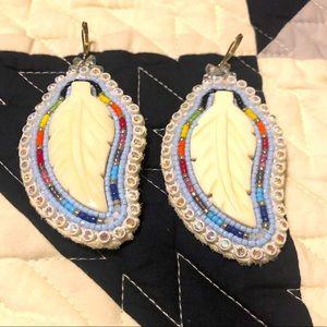 Handmade beaded feather earrings